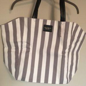 NWT Victoria's Secret Tote Gray/white stripe